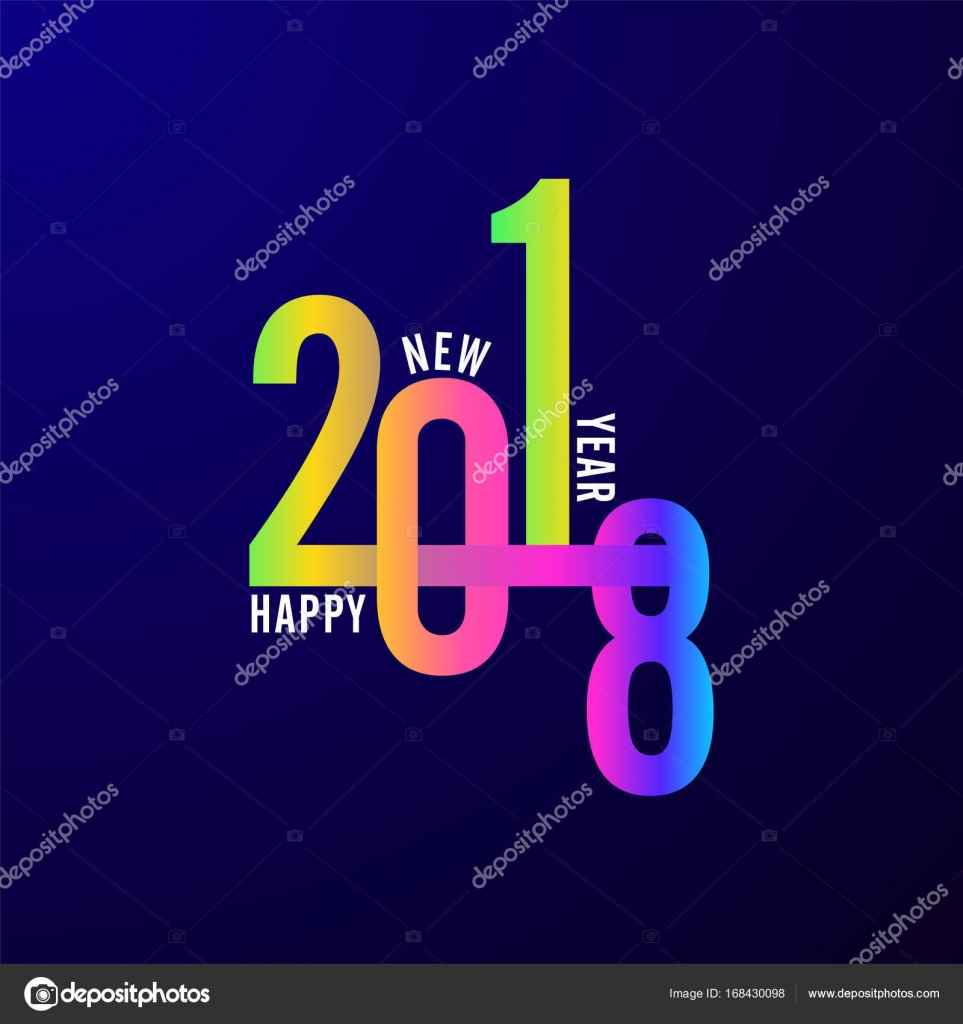stylish colorful text happy new year 2018 on blue background stock vector