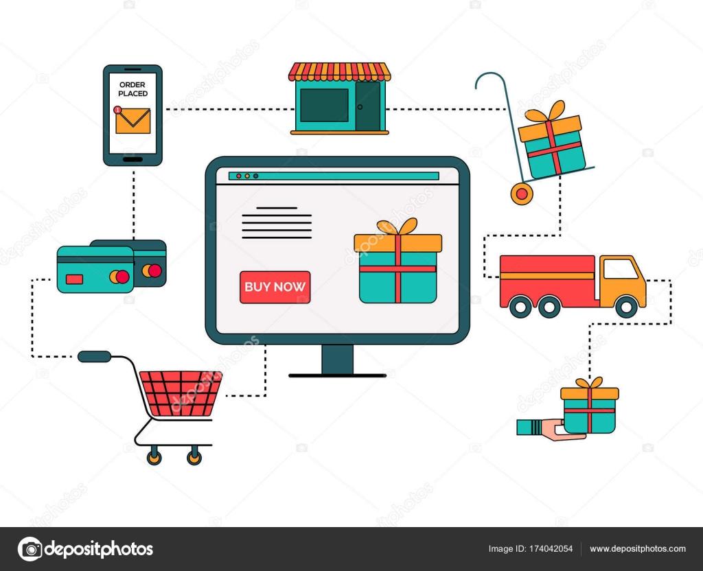 31b90f667 Diagrama de processo Infográfico em estilo simples de compras online —  Vetor de Stock