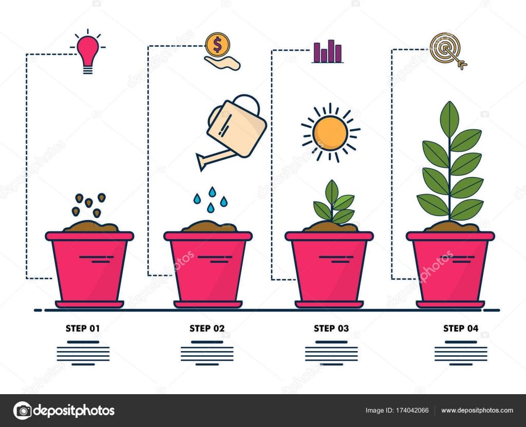 Cuatro creativo paso infografía de pasos de crecimiento de planta ...