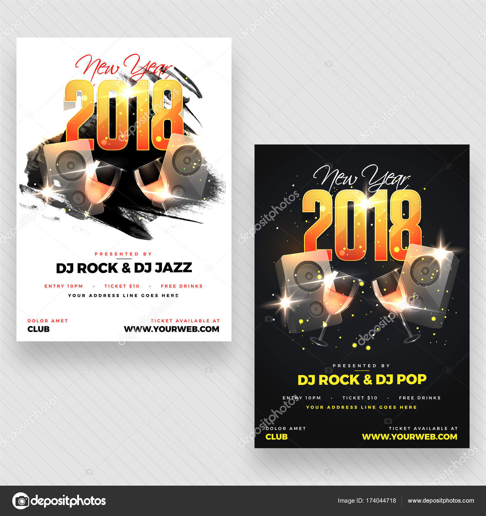 New Year Evening 2018 Party Poster, Banner or Flyer Design with ...