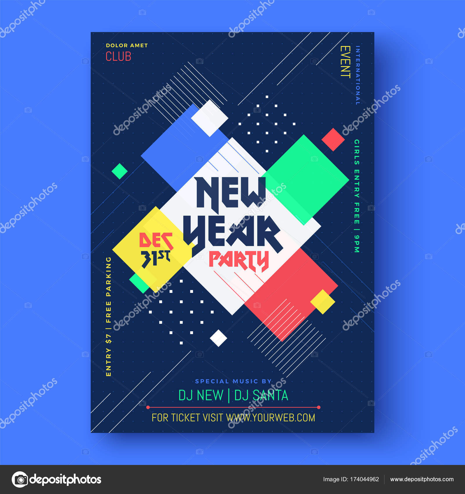 abstract new year 2018 party flyer poster or banner design stock vector