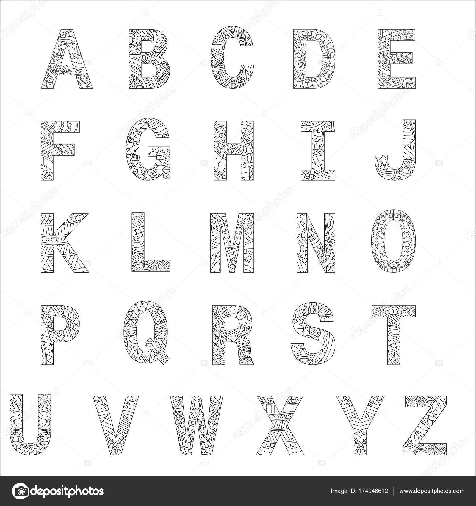Stylized alphabets, coloring book for kids. — Stock Vector ...