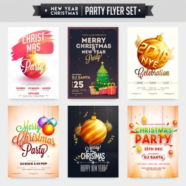 Collection of Merry Christmas and New Year Party Celebration Pos