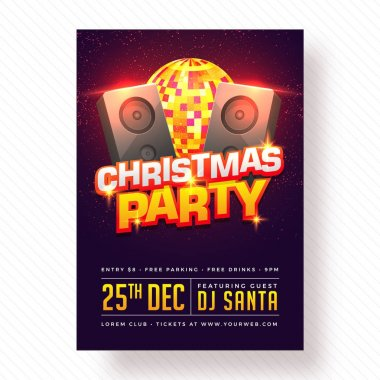Christmas Celebration Party Poster, Banner or Flyer Design.