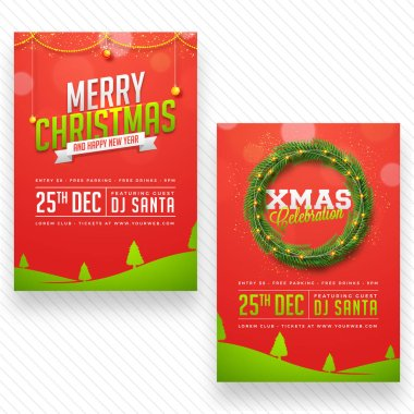 Merry Christmas celebration party poster, banner or flyer design