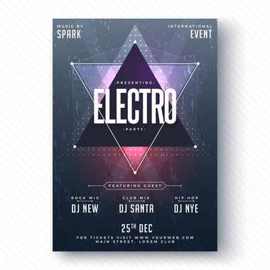 Electro Party Flyer or Banner Design.