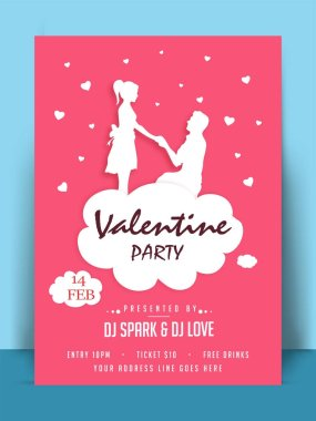 Valentine Party Banner, Poster, or Flyer Design.