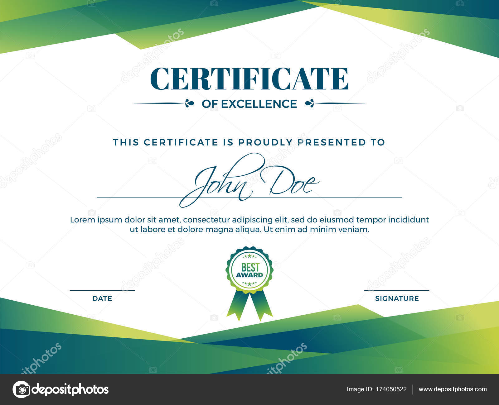 certificate of appreciation award template with green shapes and