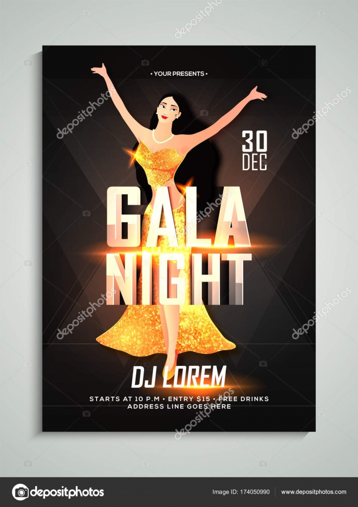 gala night flyer or banner design with young female singer in sh