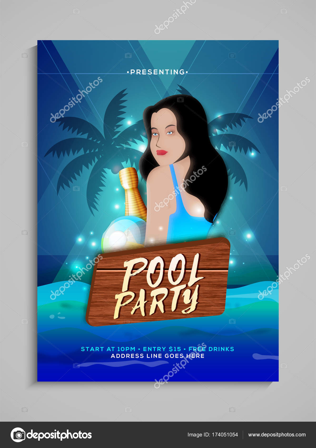 pool party flyer or banner design with young female lady illustr