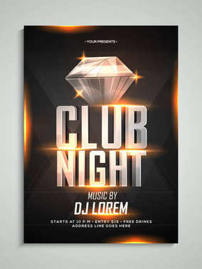 Club nigh flyer or banner design with shiny diamond design.