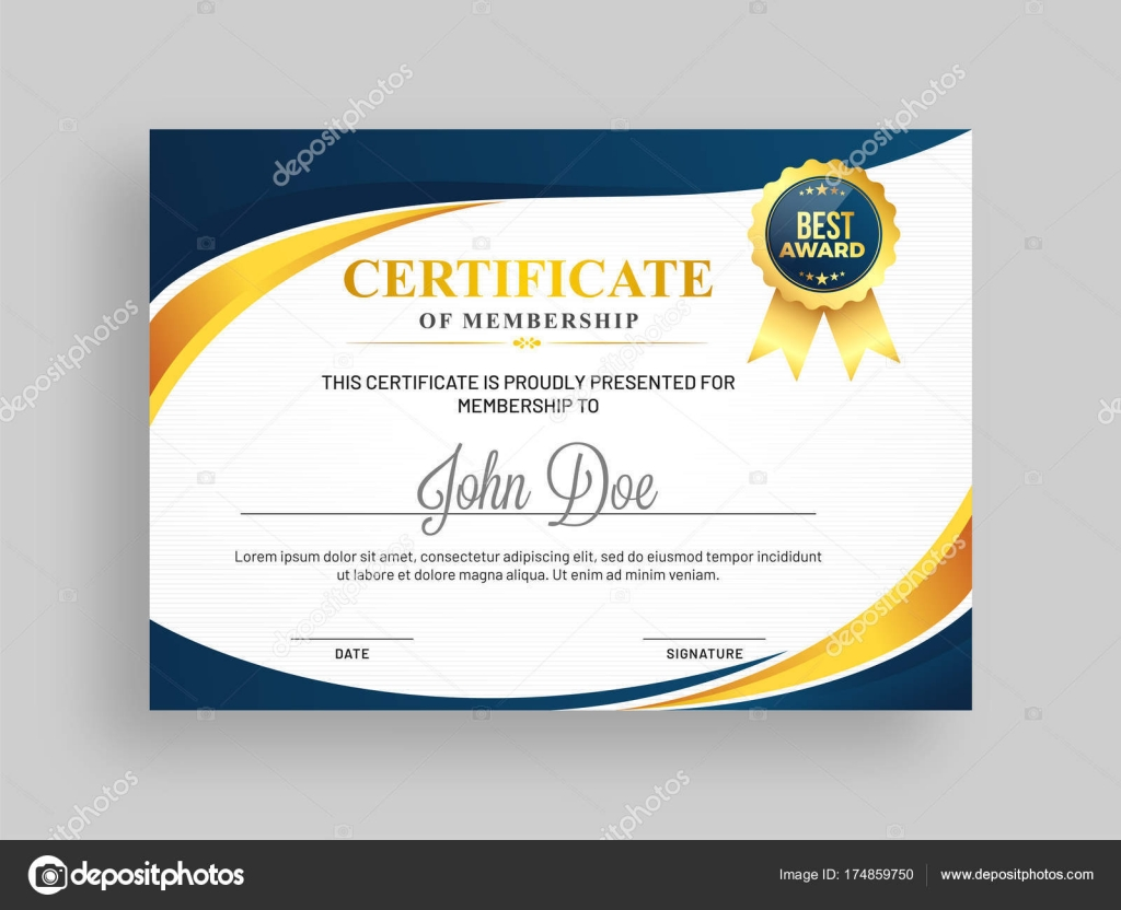 Certificate Of Membership Template With Blue And Golden Design A
