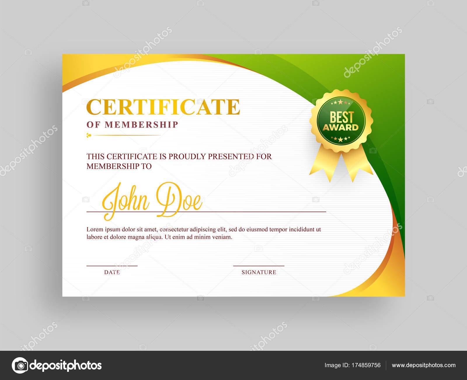 Bescheinigung über die Mitgliedschaft Vorlage mit grünen und ...