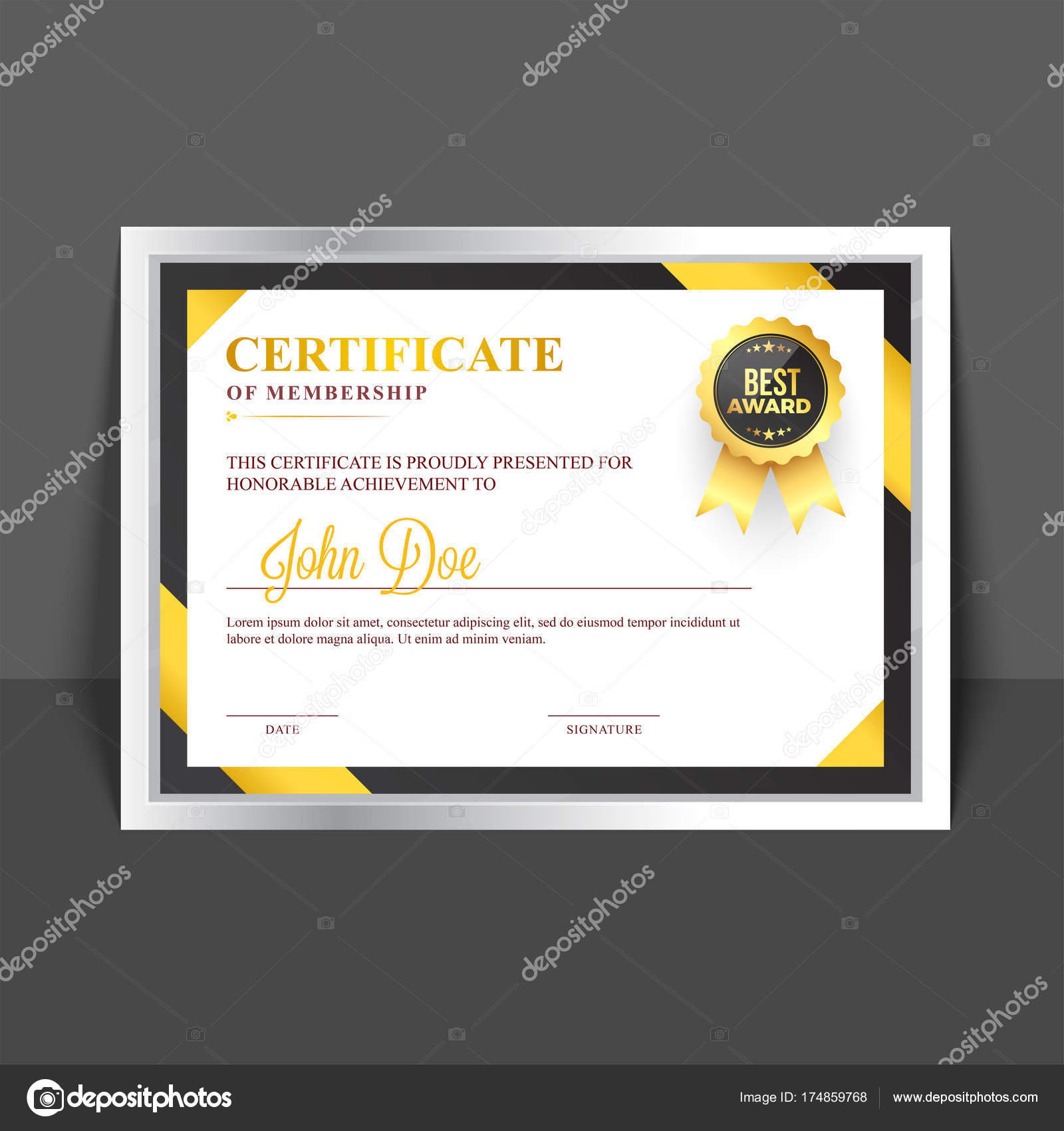 Certificate Of Membership Template With Yellow And Golden Abstra