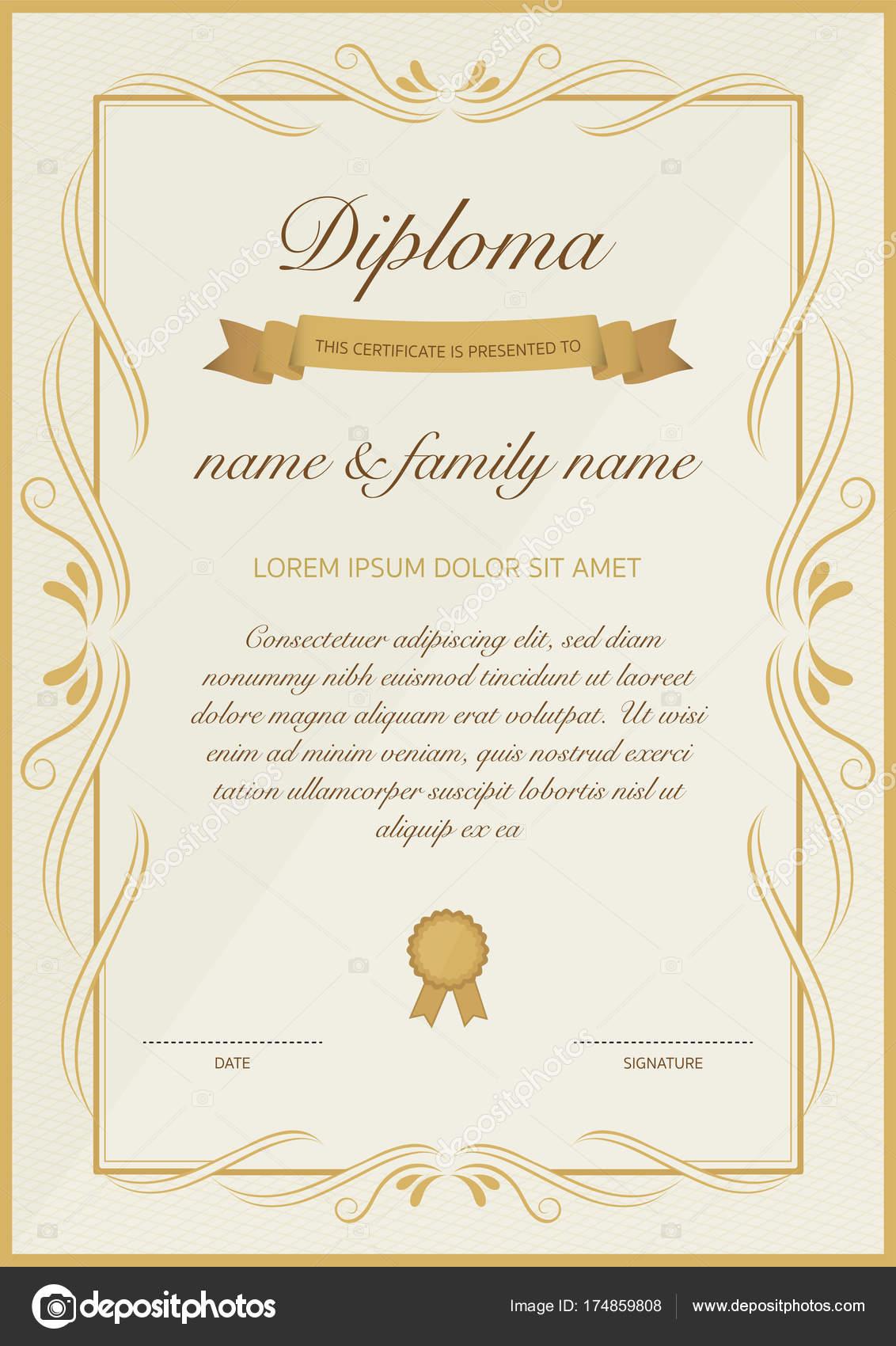 Zertifikat der Diplom-Vorlage mit goldenen floralen design ...