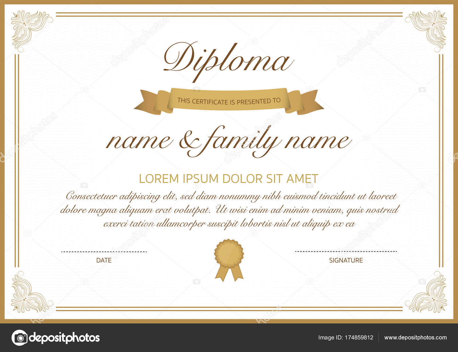 Certificate Of Diploma Template With Golden Border Stock Vector