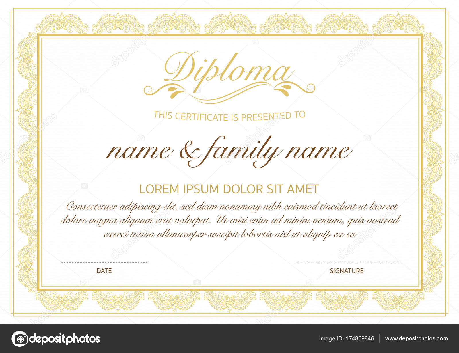 Certificate Of Diploma Template With Golden Floral Design Stock