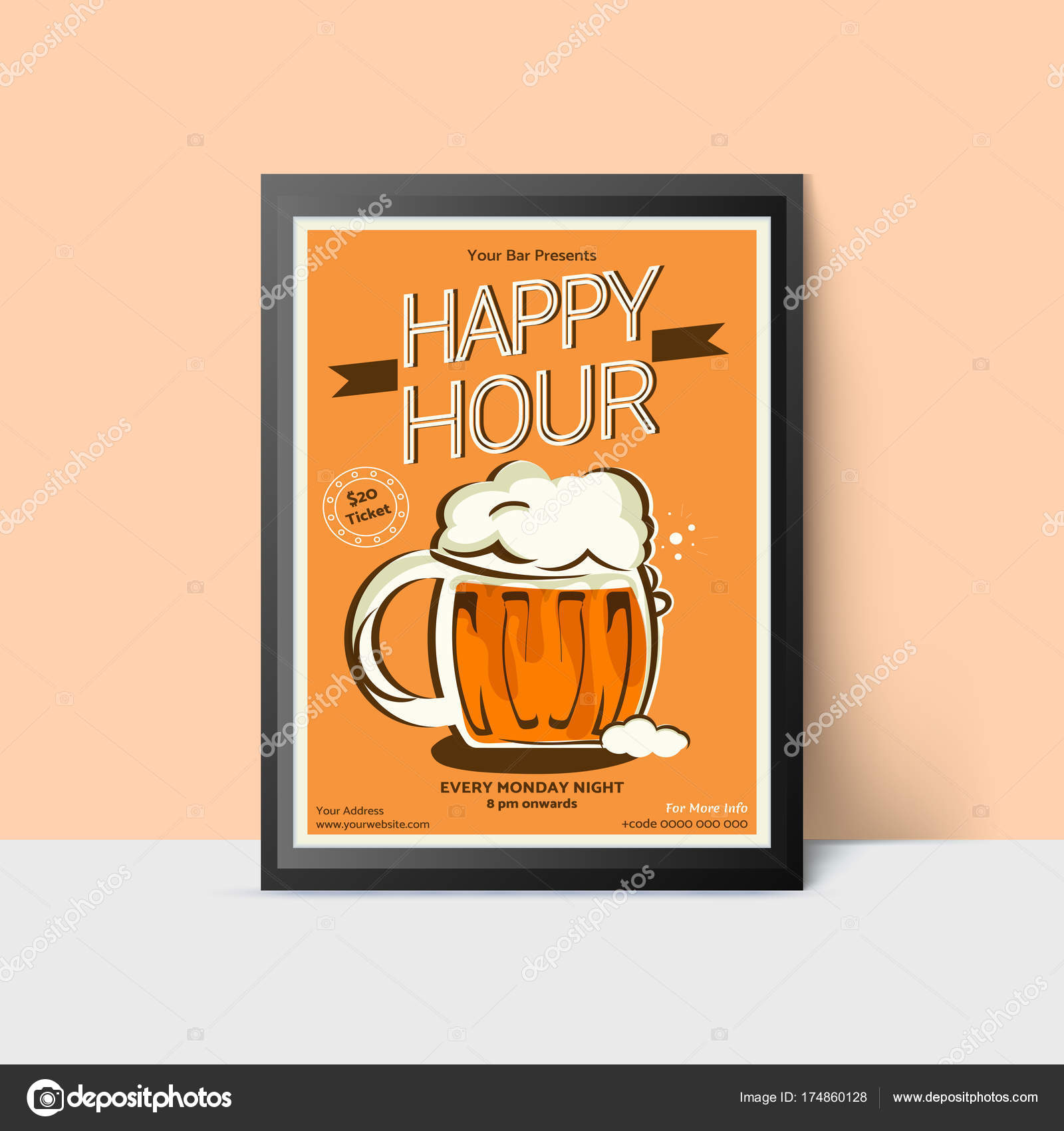 Happy Hour template with beer mug for web, poster, flyer, invita ...