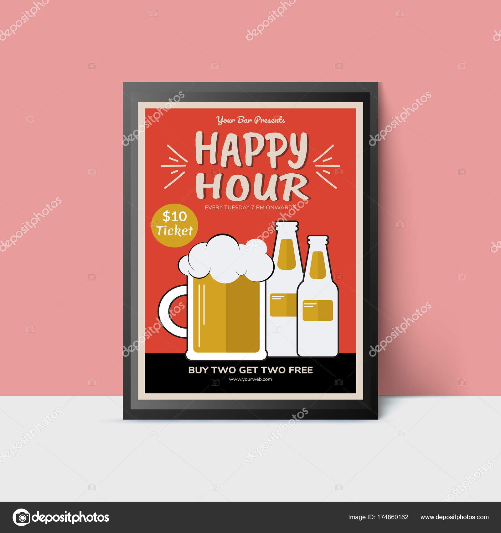 Happy Hour template with beer mug and bottles for web poster f