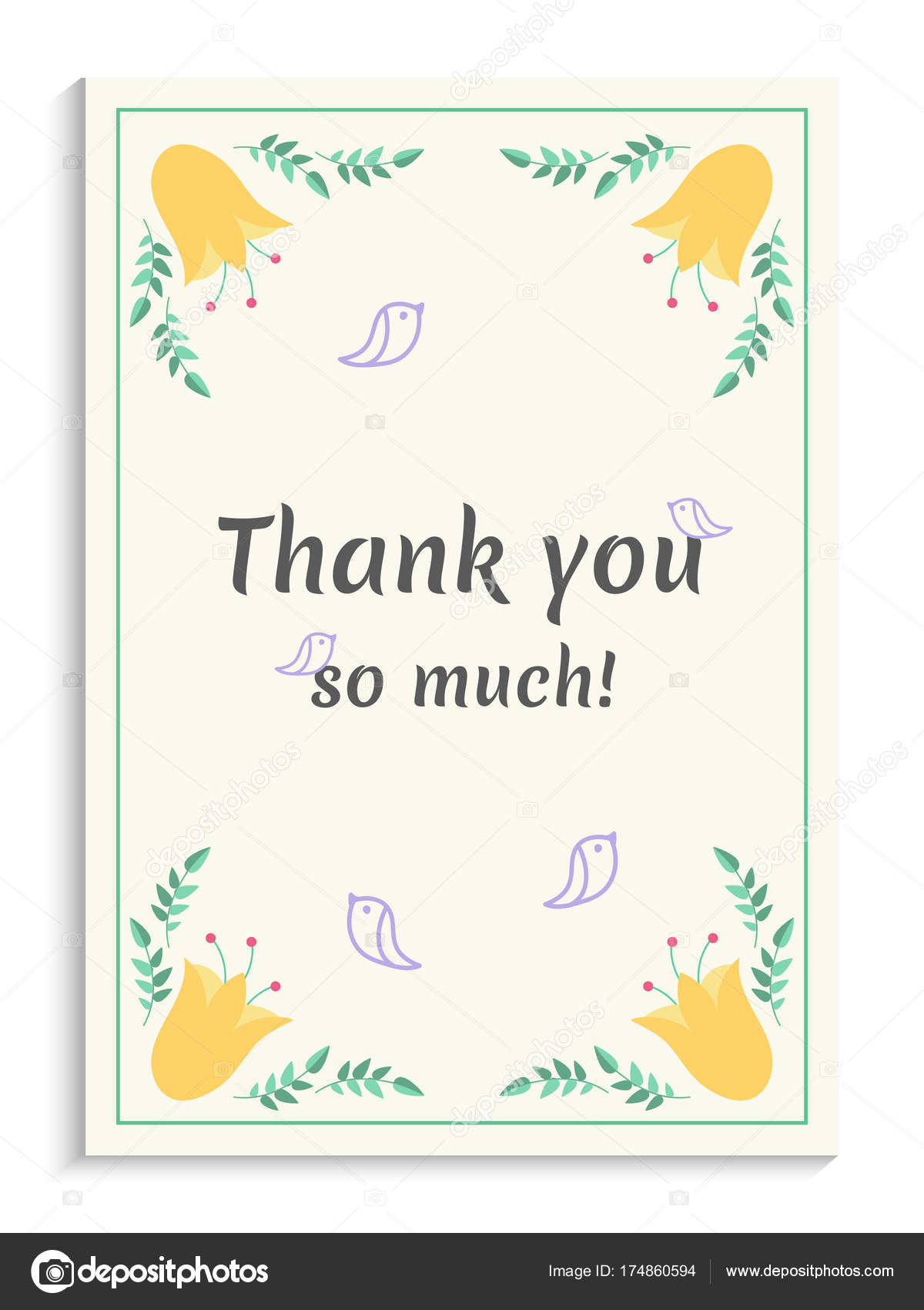 thank you greeting card design with beautiful yellow