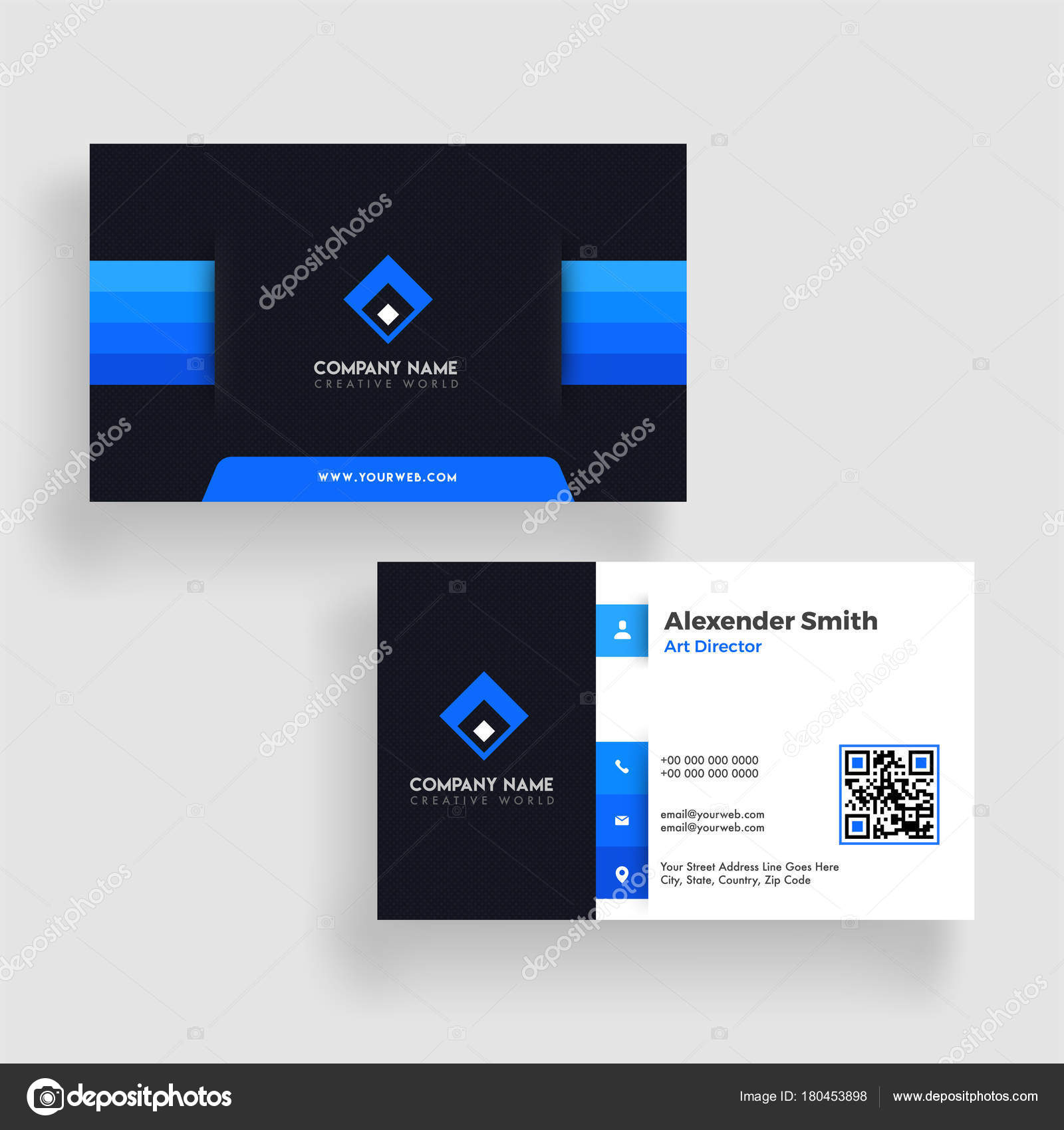 Modern business card template design. Both sided, Contact card f ...