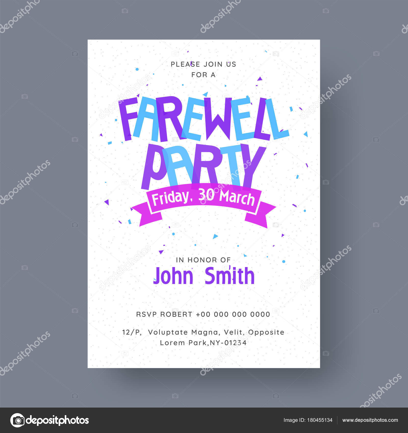 Farewell Party Banner Or Invitation Card Design Stock Vector