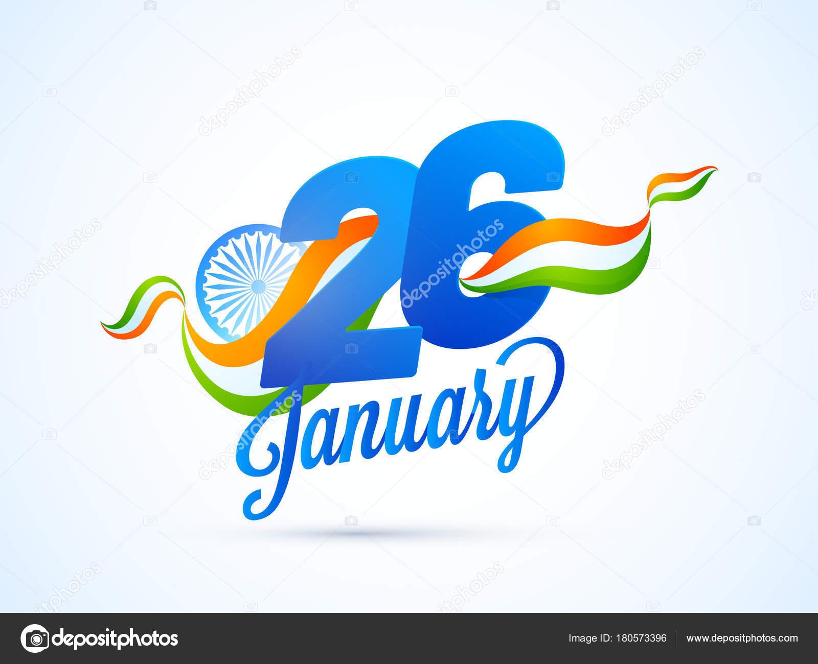Texto de papel 26 de enero en onda del tricolor nacional, indio d ...