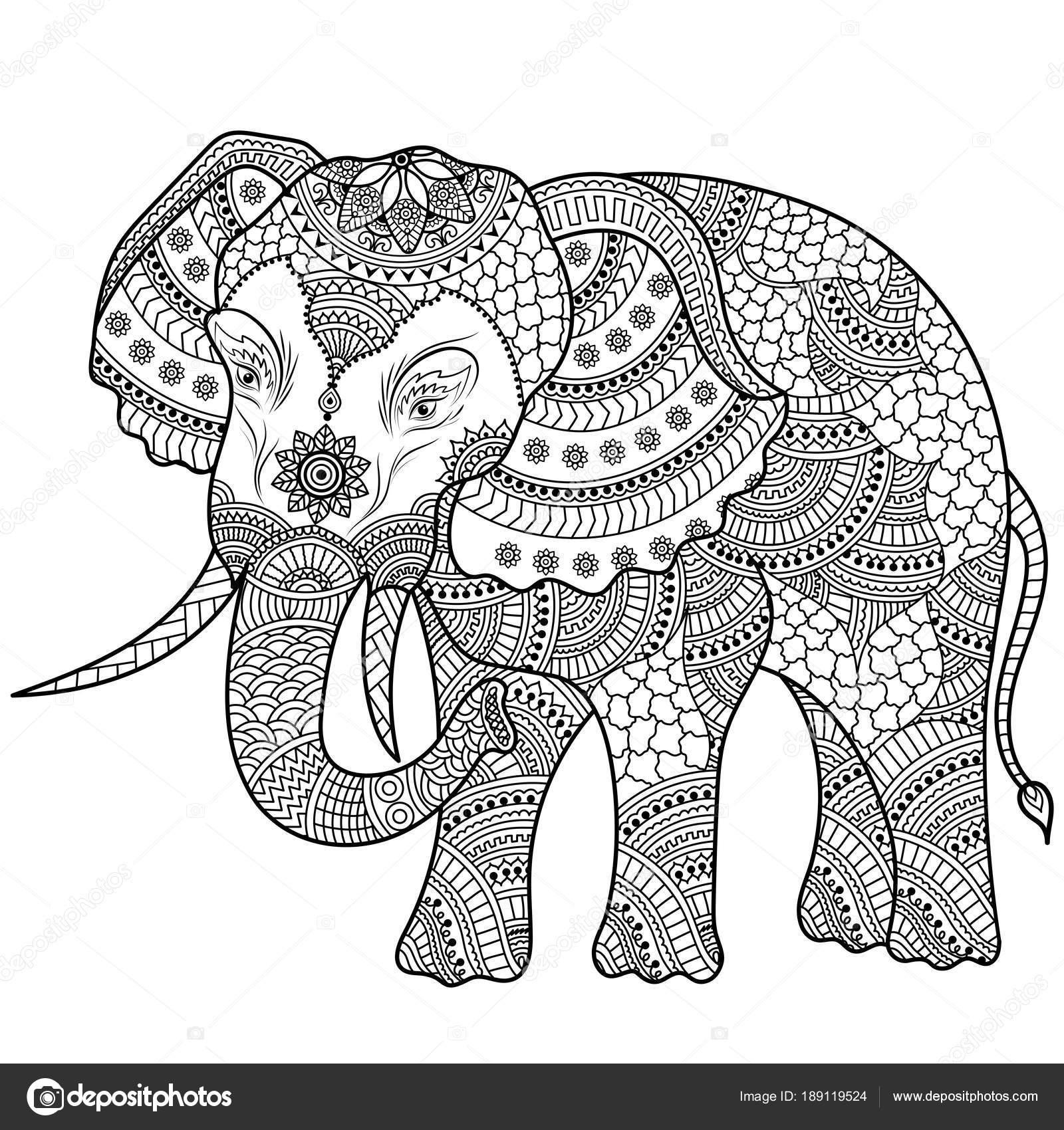 Olifant Illustratie Kleurplaat Doodle Stockvector