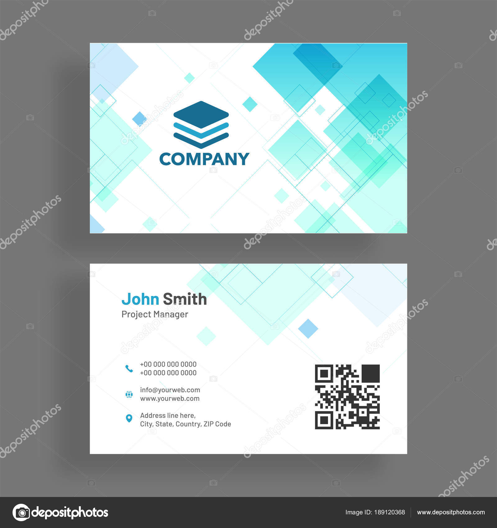 Horizontal business card with front and back presentation. — Stock ...