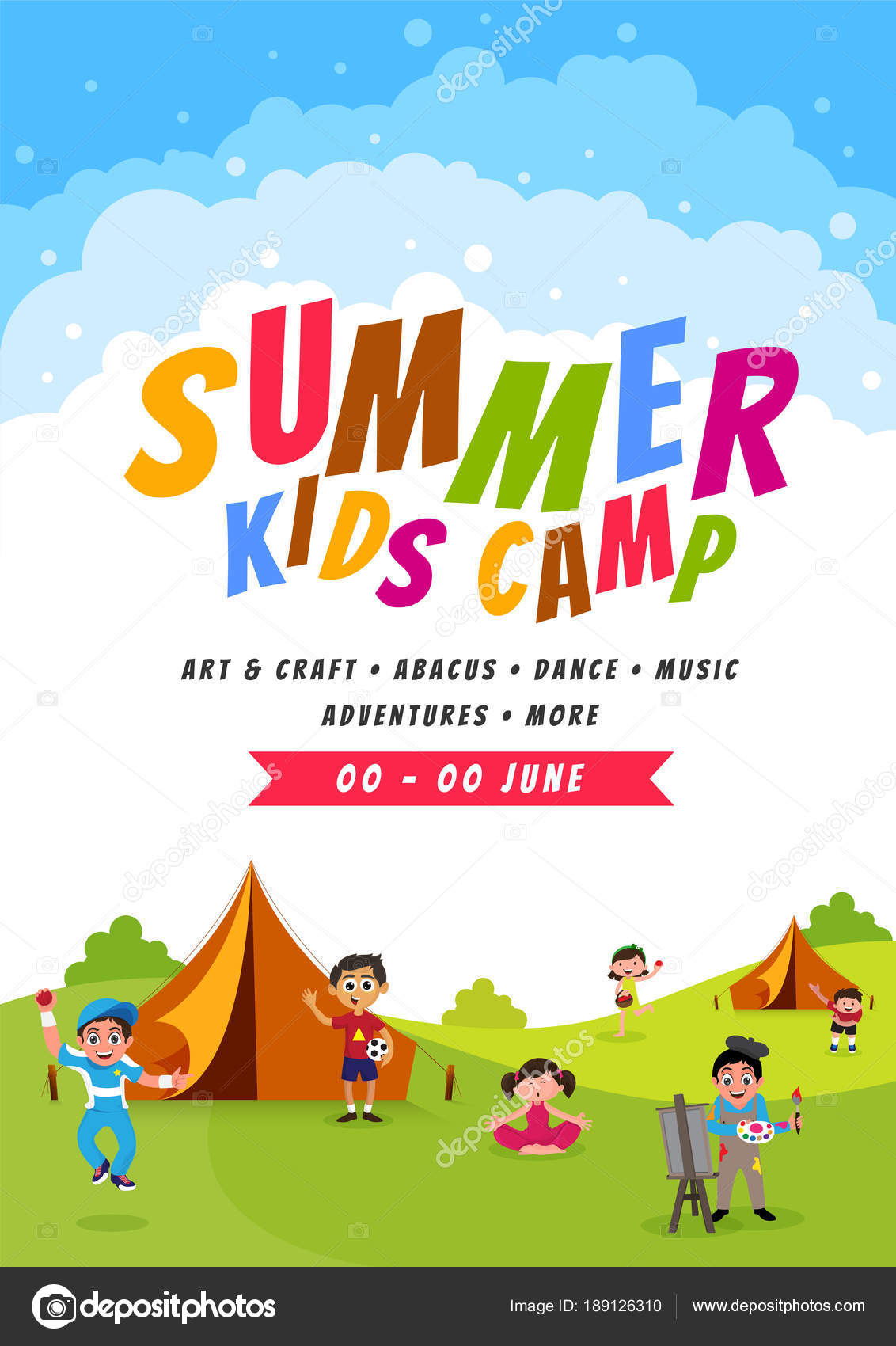 summer camp poster  flyer or banner design   u2014 stock vector