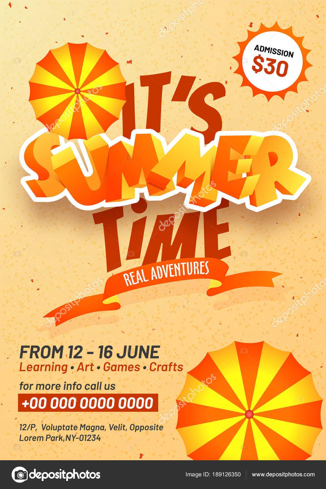 summer camp poster flyer or banner design stock vector
