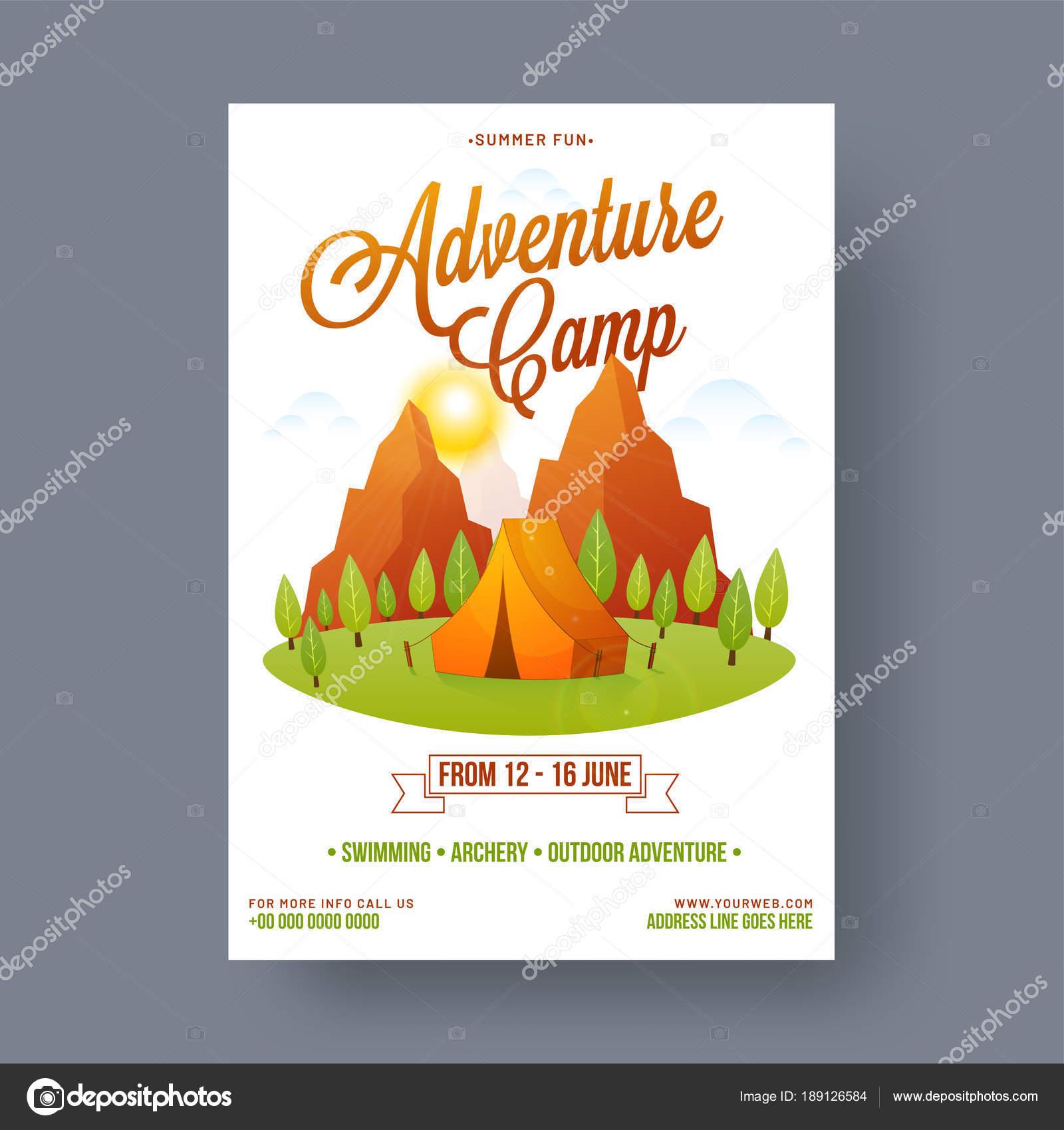 Cartel campamento de verano, diseño de flyer o banner — Vector de ...