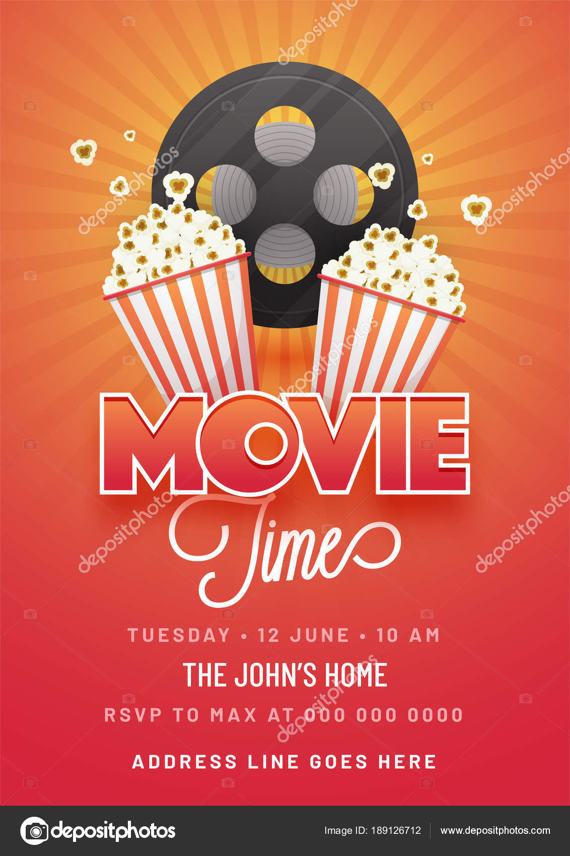 Movie Time ConceptCreative Template For Cinema Poster Banner I Stock Vector