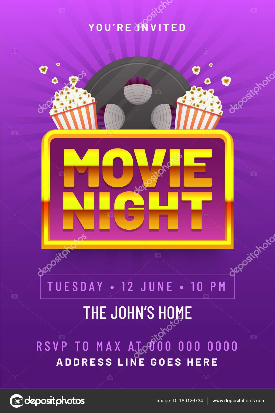 Film-Nacht-Konzept. Kreative Vorlagen für Kino Poster, banner ...