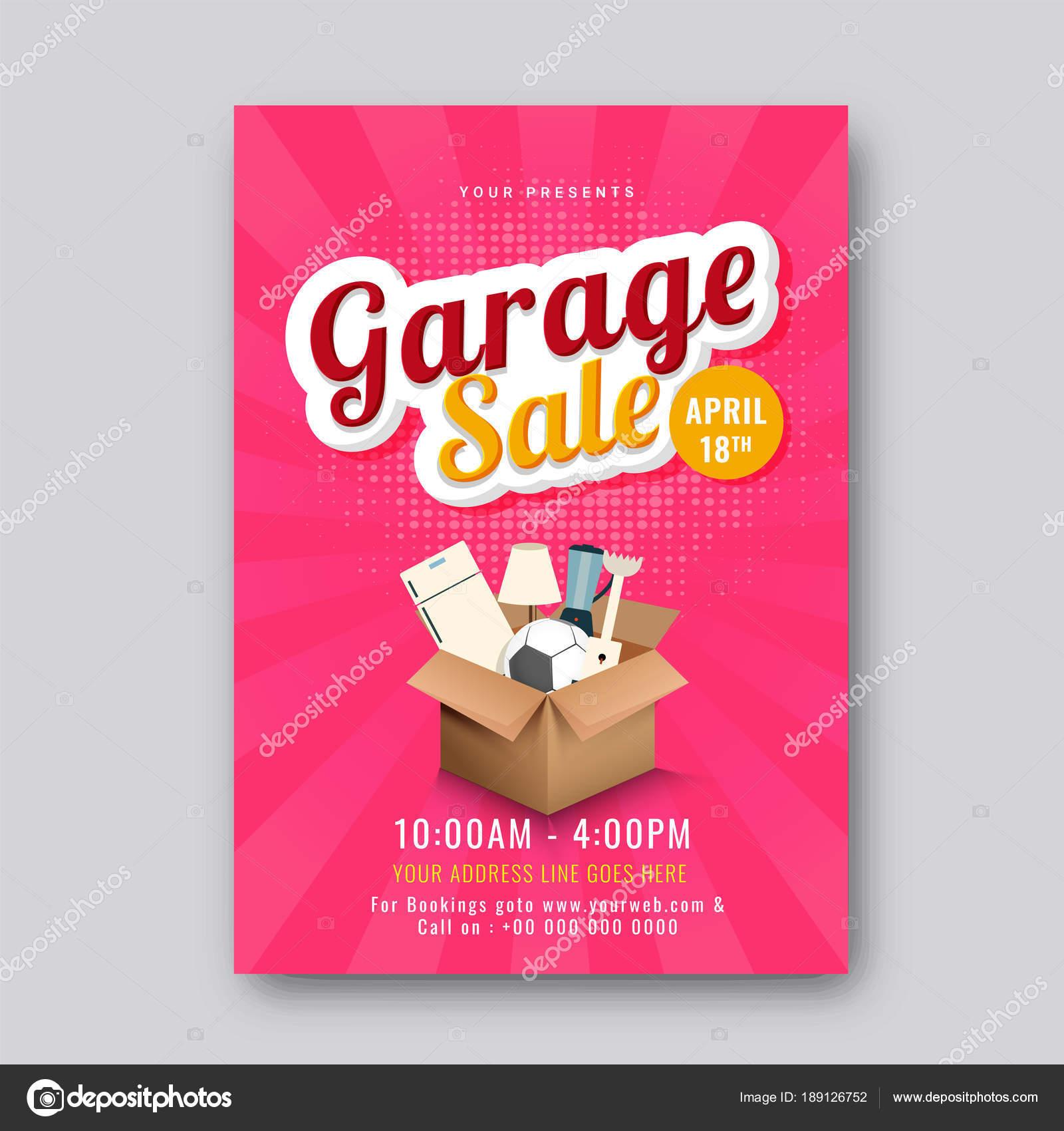 Un garaje o patio venta evento anuncio para imprimir cartel o banne ...