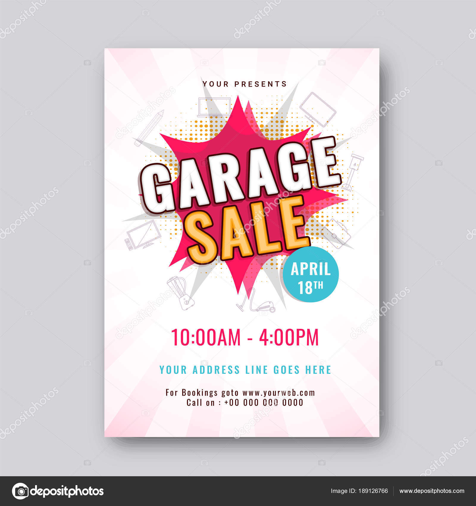 garage or yard sale event announcement printable poster or banne
