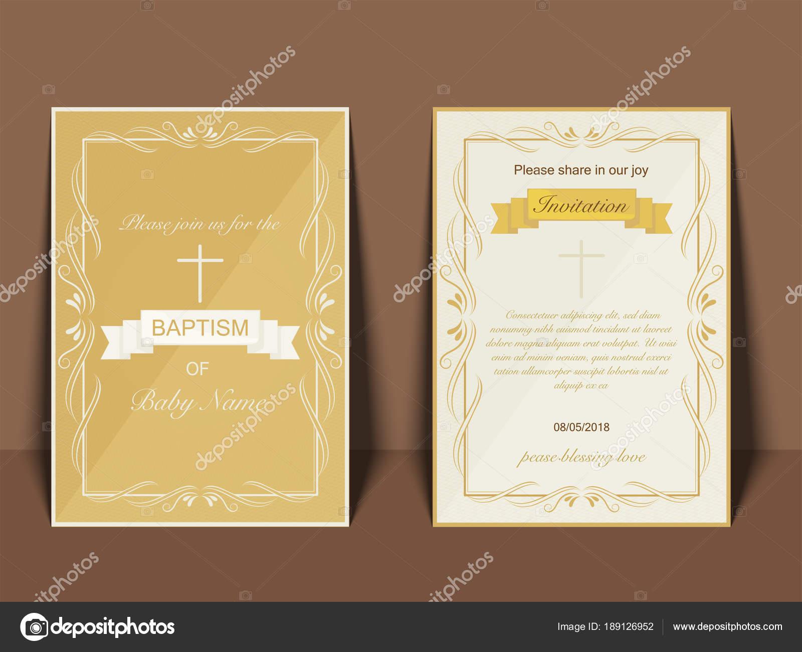 Diseño De Tarjeta De Invitación De Bautismo Con Cruz Símbolo