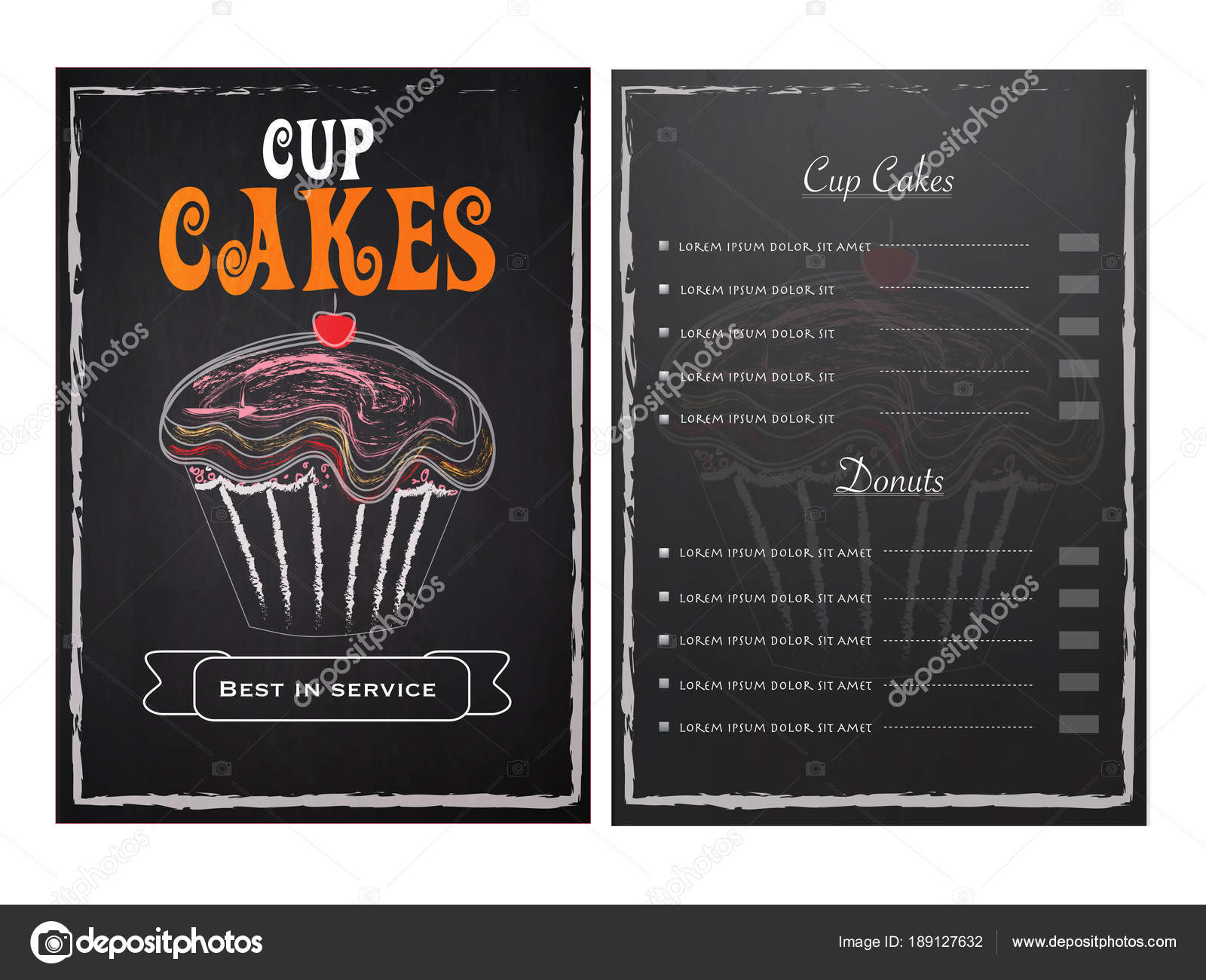 Cup Cakes Menu Card Design With Front And Back Page View Stock