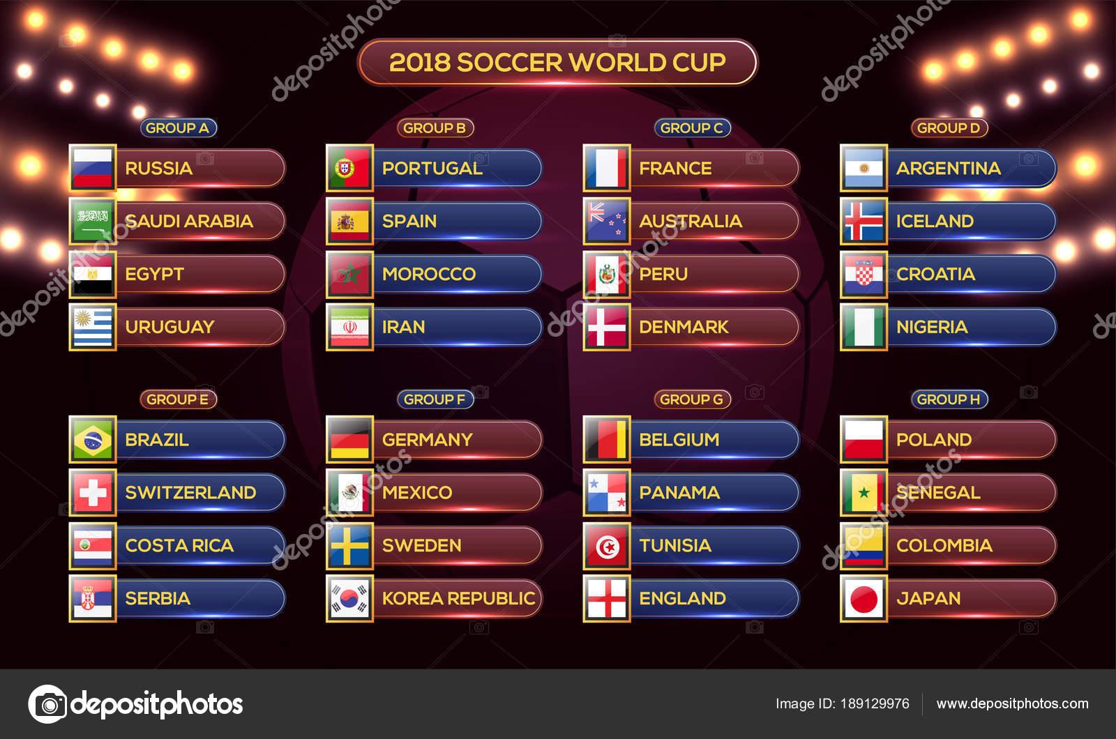 Calendario Mundial Futbol.Vector Calendario Rusia 2018 Calendario De Copa Mundial Rusia