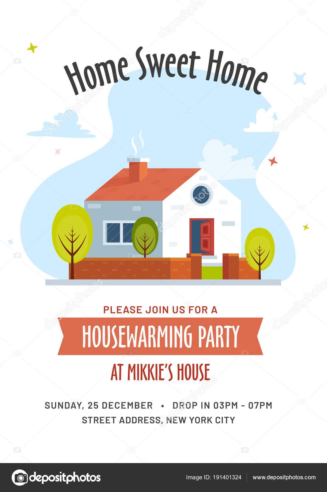 Housewarming Party Invitation Card Design Stock Vector