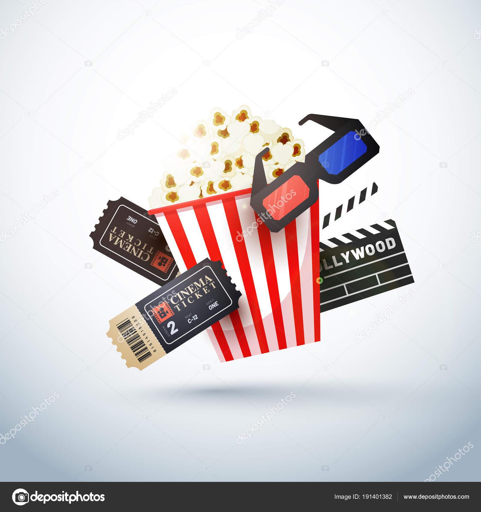 Kreative Vorlagen für Kino Poster, Banner mit Ticket, 3d glas ...