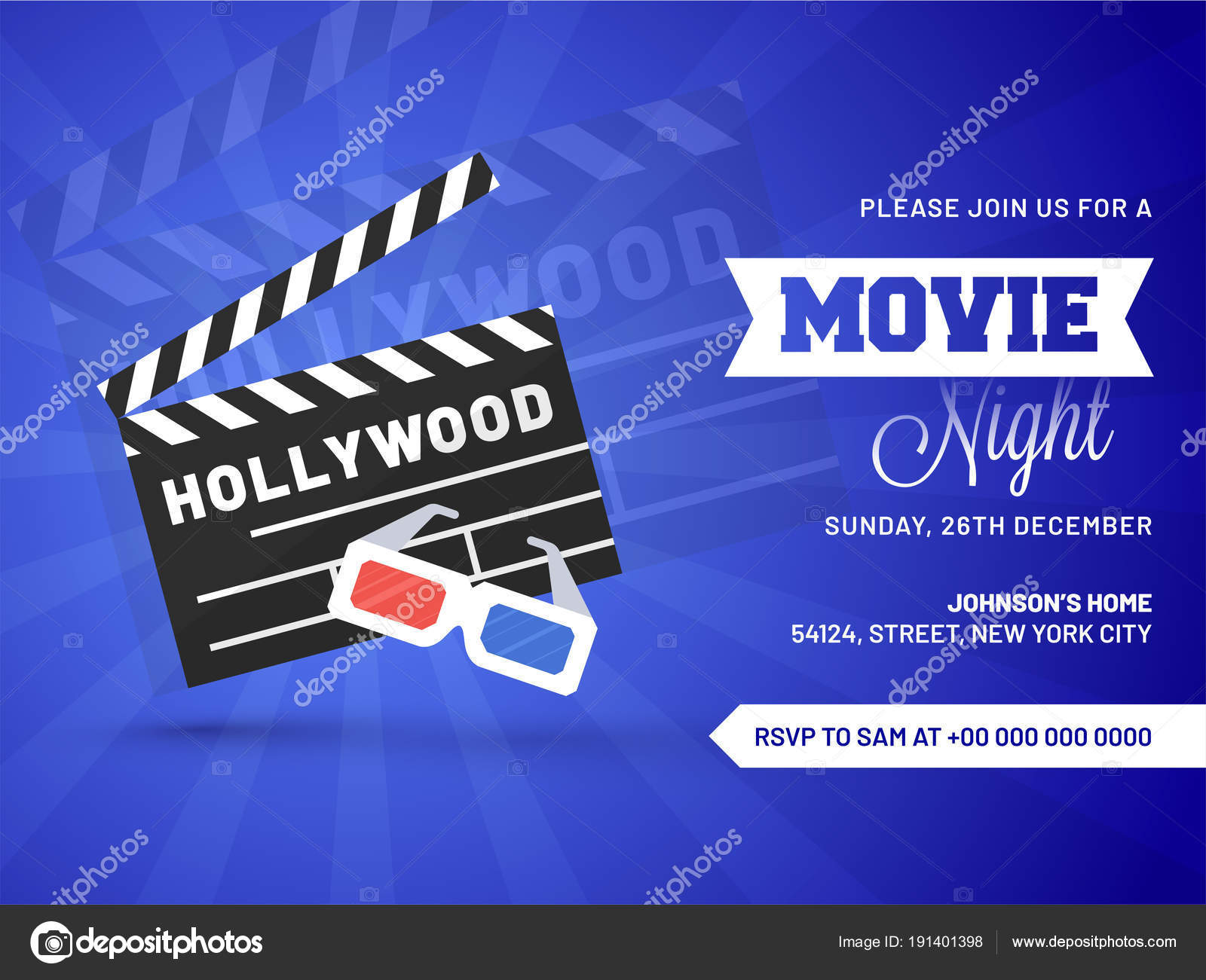 Movie Night Concepteative Template For Cinema Poster Banner