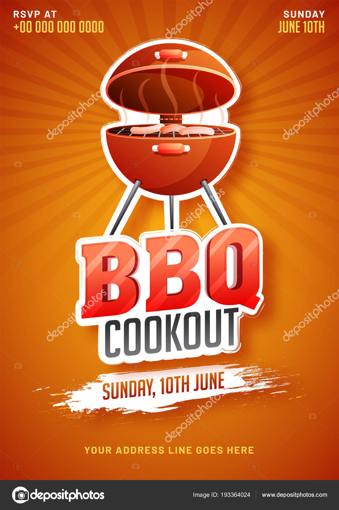 barbecue poster flyer template or invitation design stock