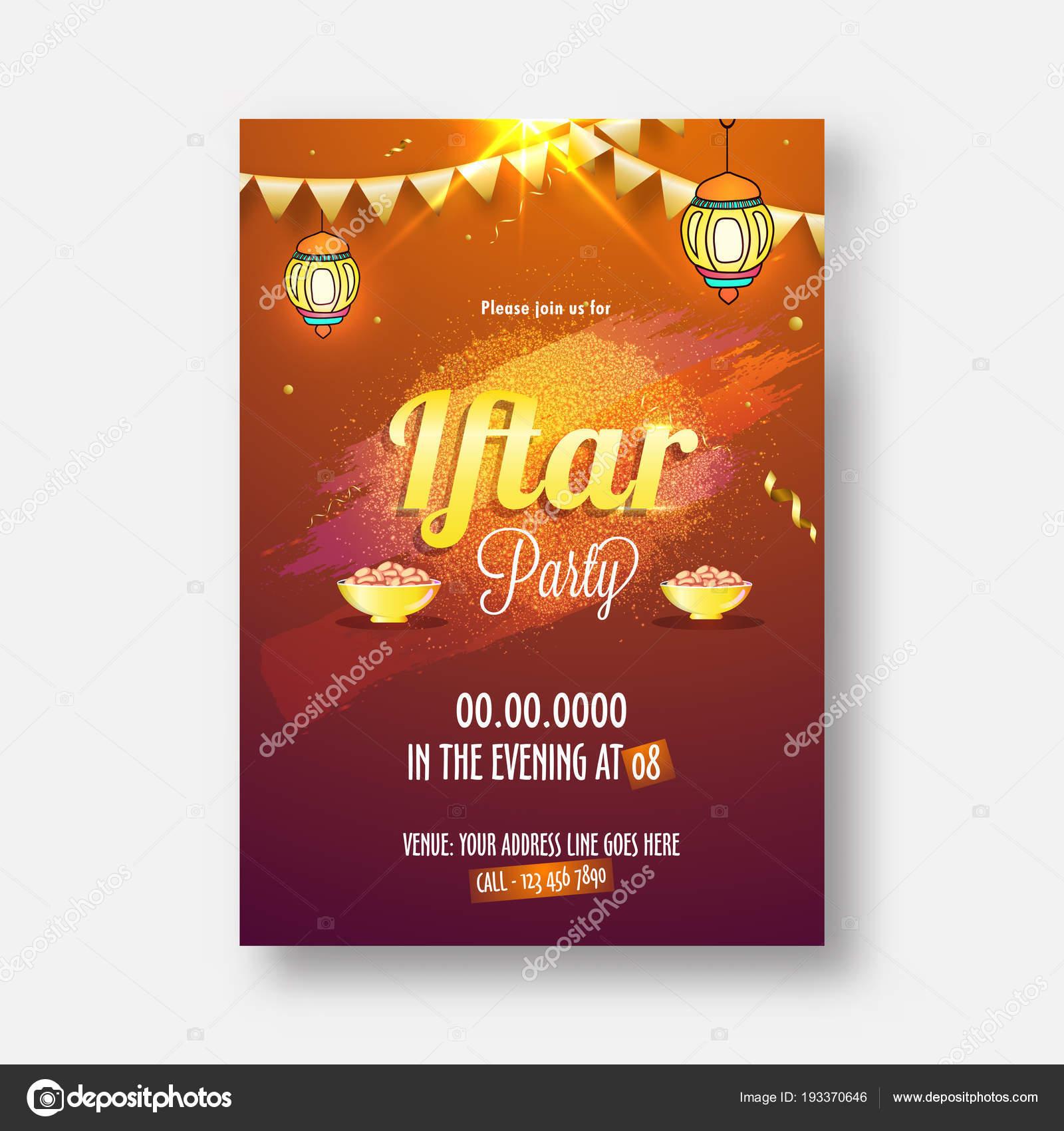 Iftar Party celebration, invitation card design with stylish golden ...