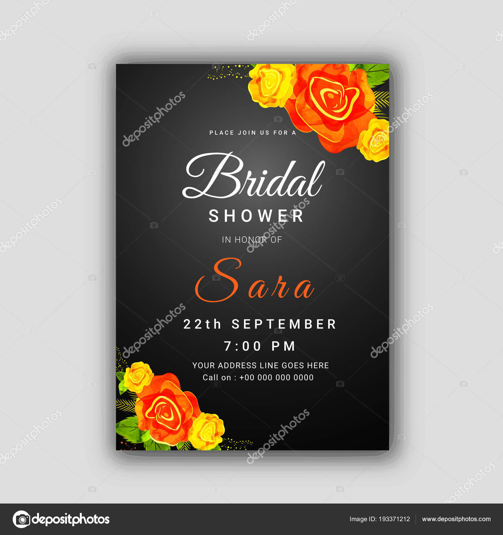 Bridal Shower Invitation Card Template Stock Vector