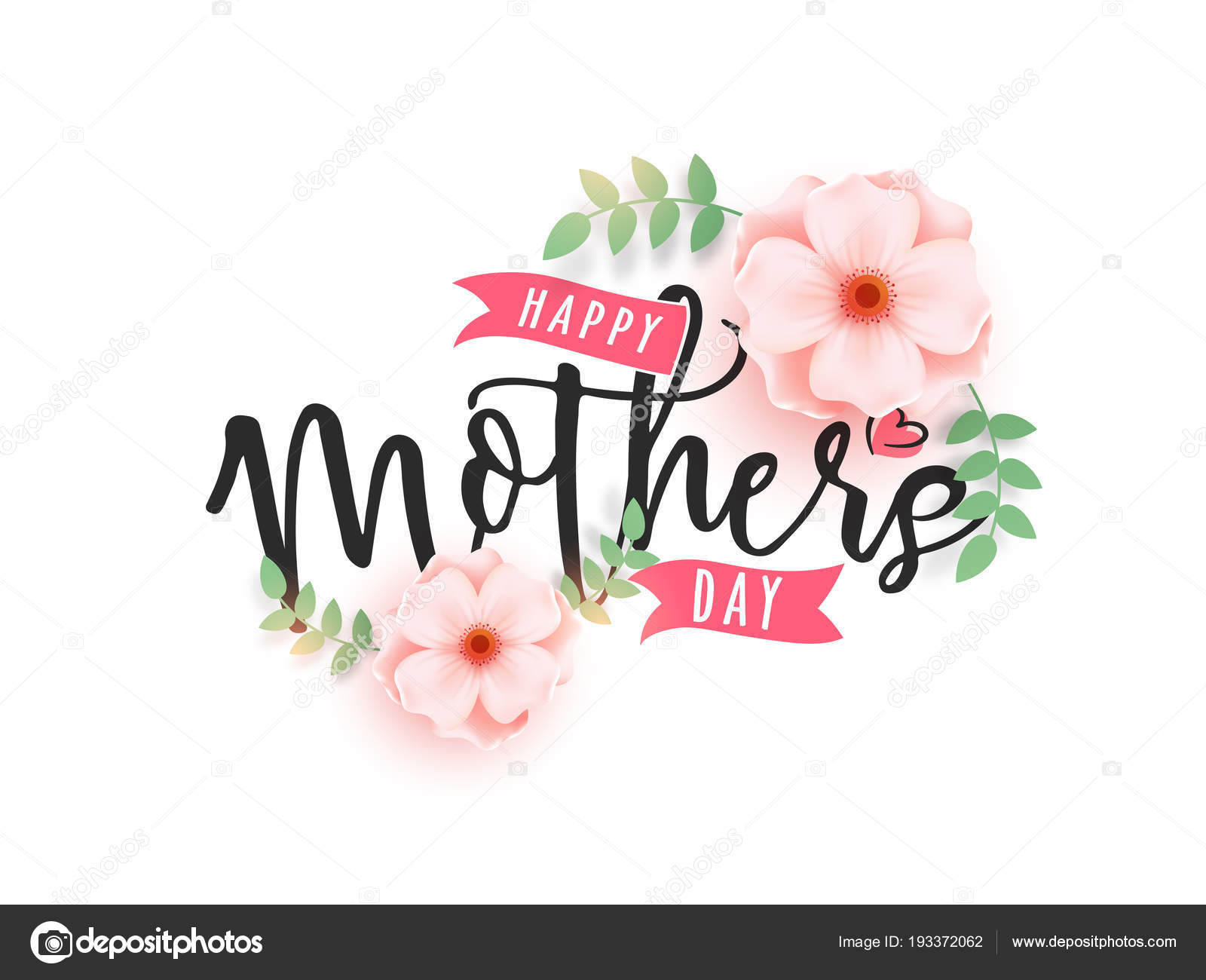 Calligraphy text happy mothers day decorated with beautiful pink