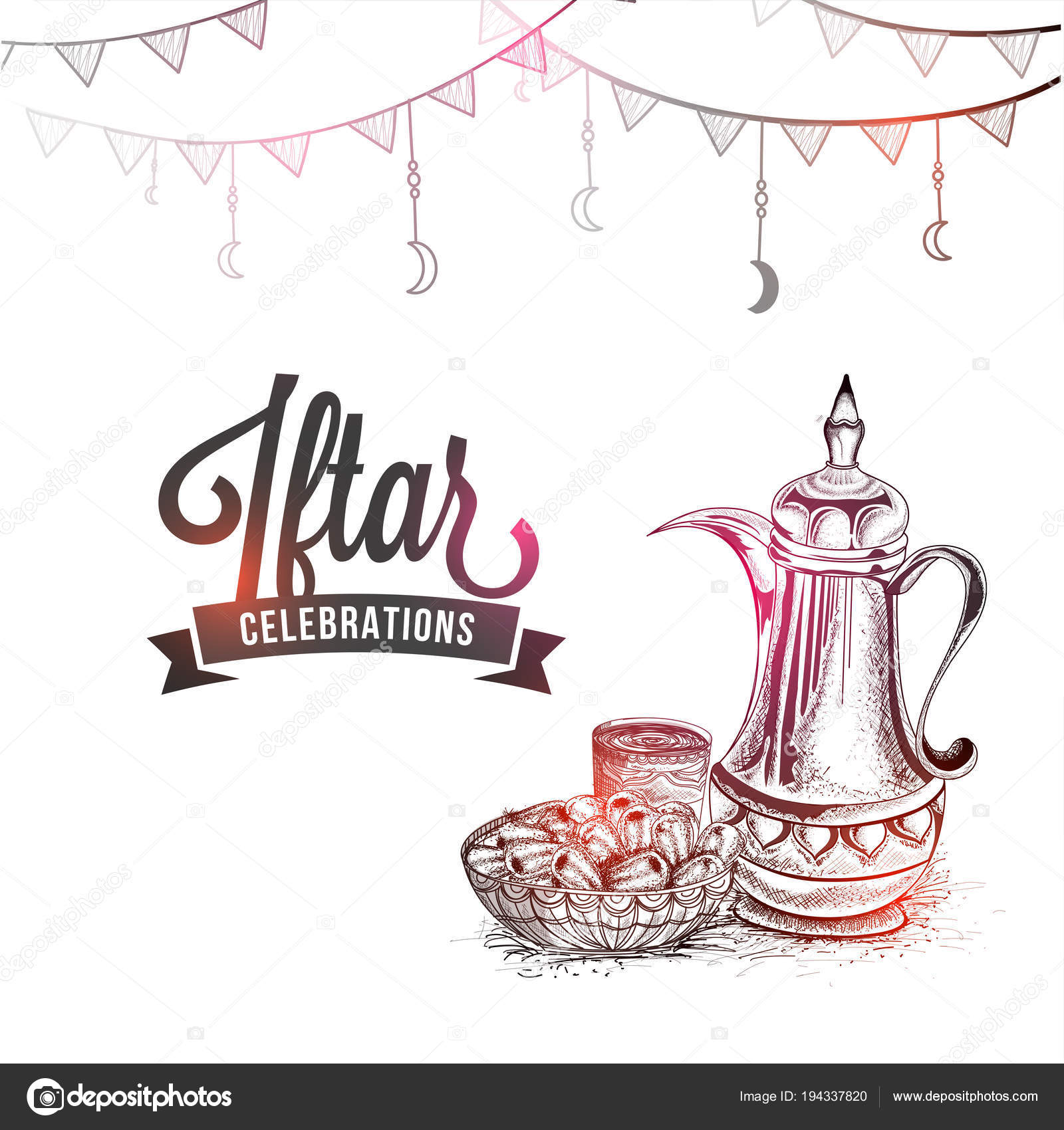 Iftar celebrations concept traditional jug dates stylish text pencil sketch stock vector