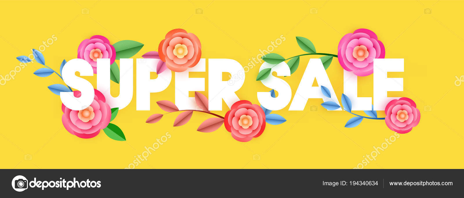 Stylish Text Super Sale Decorated Beautiful Flowers Yellow