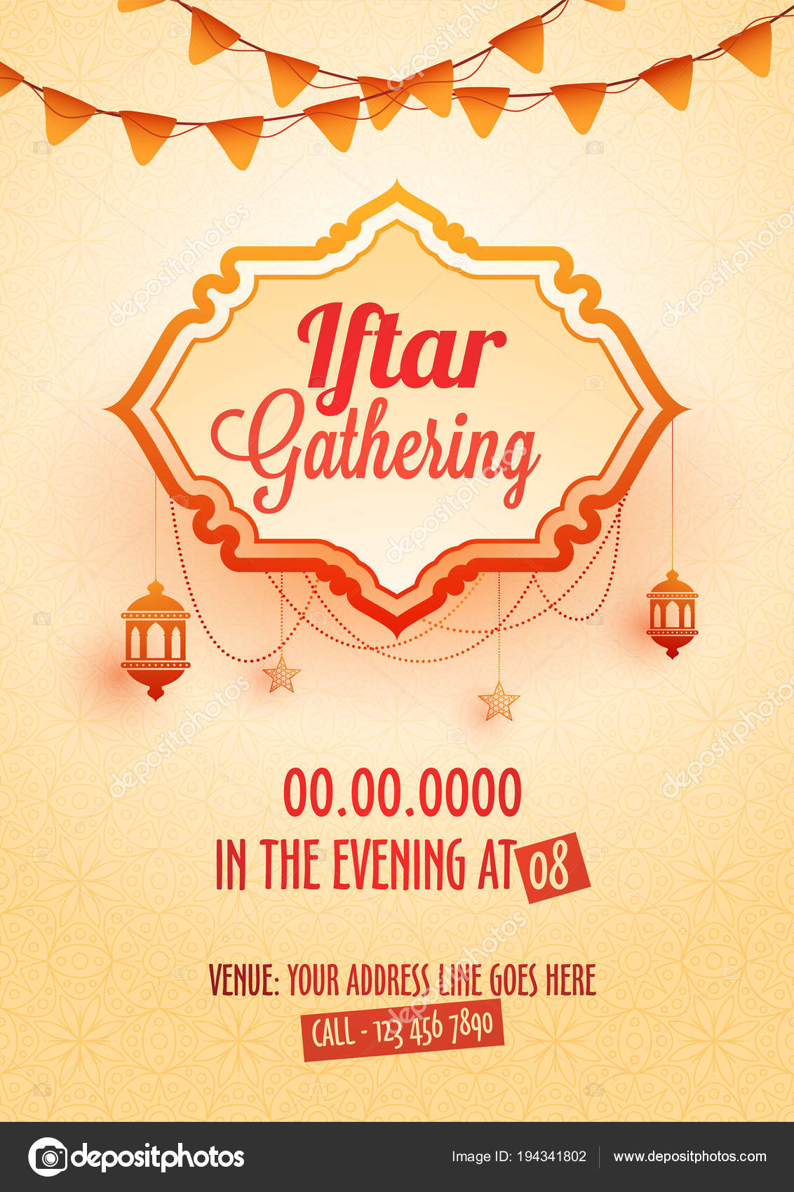 Iftar gathering invitation card design hanging lanterns bunting iftar gathering invitation card design hanging lanterns bunting flags venue stock vector stopboris Image collections