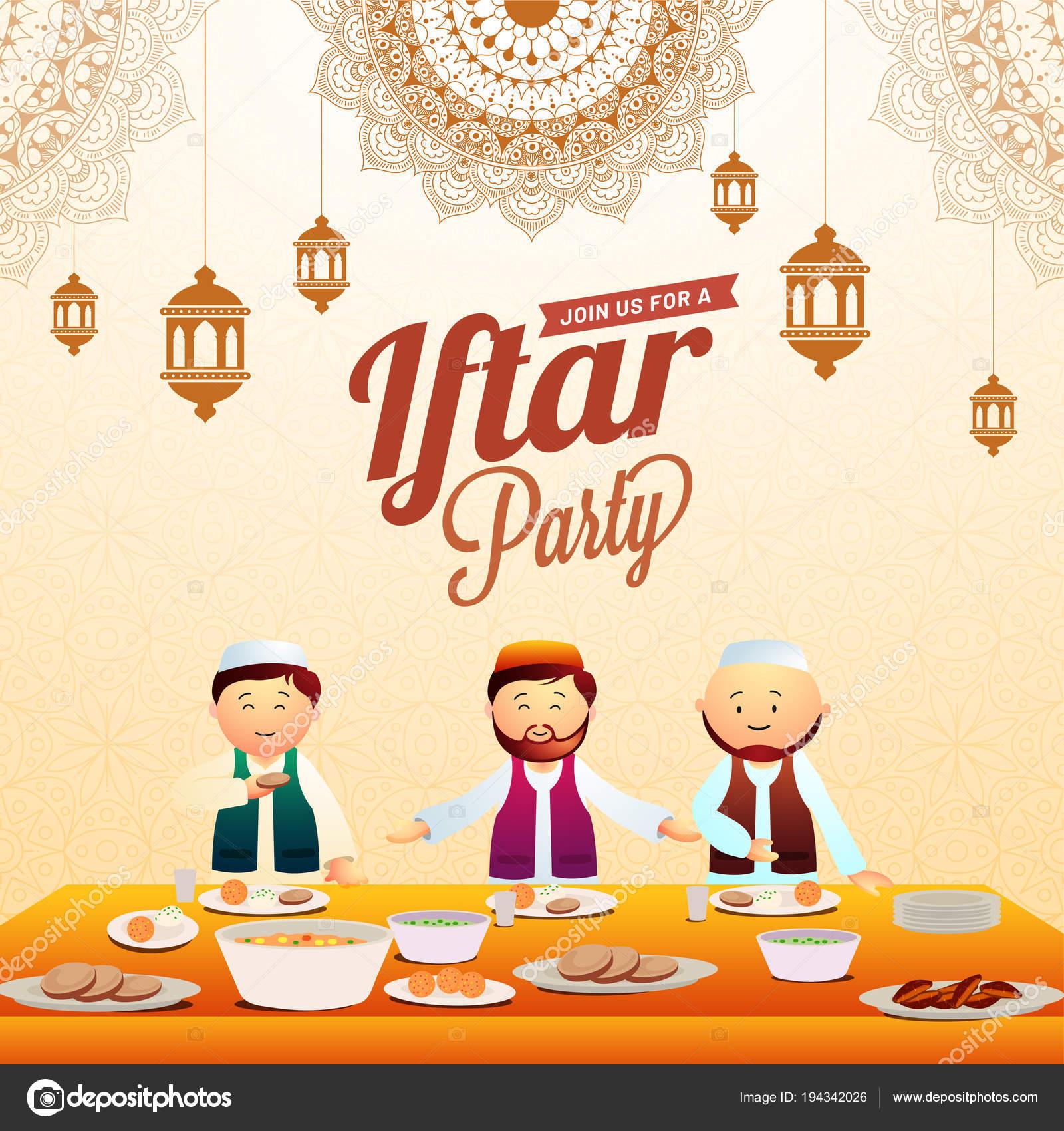 Iftar Party Invitation Card Desig Hanging Lanterns Mandala